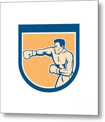 Boxer Boxing Punching Shield Cartoon Metal Print by Aloysius Patrimonio
