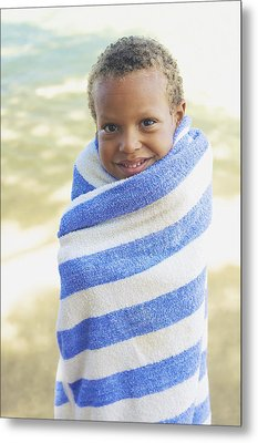 Boy In Towel Metal Print by Kicka Witte