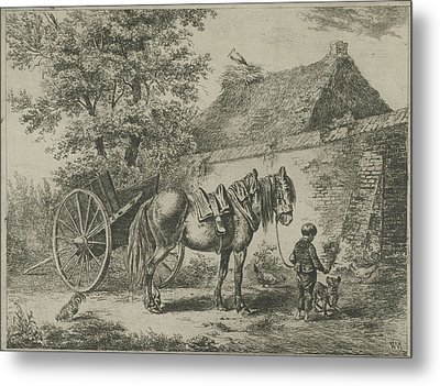 Boy With Horse And Dog, Print Maker Christiaan Wilhelmus Metal Print by Christiaan Wilhelmus Moorrees