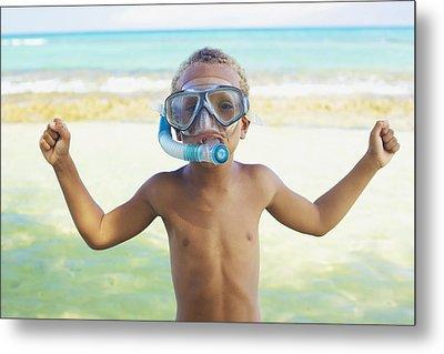 Boy With Snorkel Metal Print by Kicka Witte