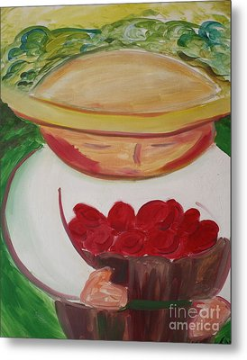 Boy With Strawberries Metal Print by Teresa Hutto