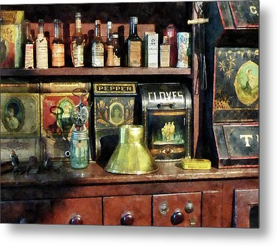 Brass Funnel And Spices Metal Print by Susan Savad