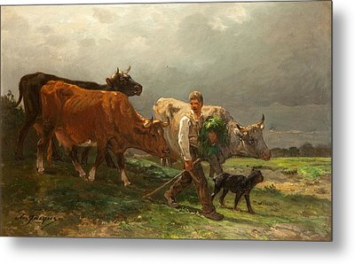 Breton Lad With Cattle Metal Print by Julius Caesar Ibbetson