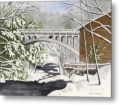 Bridge By The Mill - Mill Creek Park Metal Print