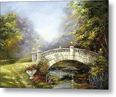 Metal Print featuring the painting Bridge In The Park by Dmitry Spiros