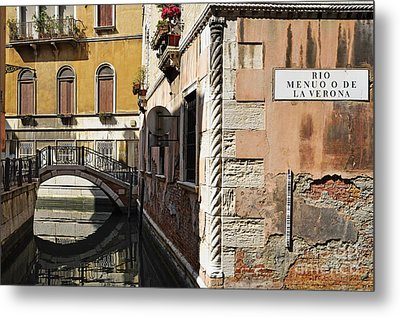 Bridge Over Narrow Canal Metal Print by Sami Sarkis