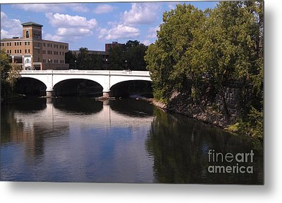Bridge Over The St. Joseph River  --  South Bend Metal Print by Anna Lisa Yoder