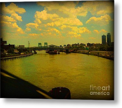 Bridge With Puffy Clouds Metal Print by Miriam Danar