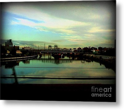 Bridge With White Clouds Metal Print by Miriam Danar