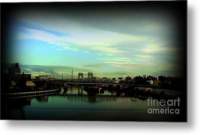 Bridge With White Clouds Vignette Metal Print by Miriam Danar