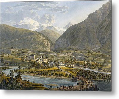 Brig On The Rhone, Bernese Alps Metal Print by Swiss School