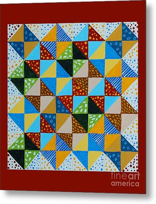 Broken Dishes - Quilt Pattern - Painting Metal Print