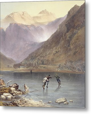 Brothers Water, Detail Of Ice Skaters Metal Print by James Baker Pyne