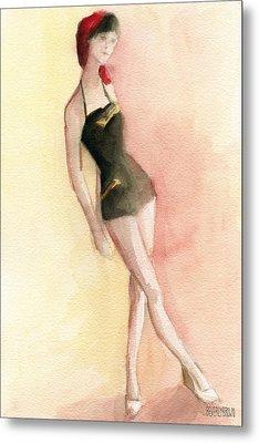 Brown Vintage Bathing Suit 2 Fashion Illustration Art Print Metal Print