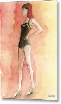 Brown Vintage Bathing Suit 3 Fashion Illustration Art Print Metal Print