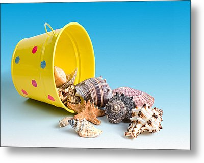 Bucket Of Seashells Still Life Metal Print by Tom Mc Nemar