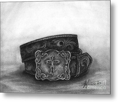 Metal Print featuring the drawing Buckled by J Ferwerda