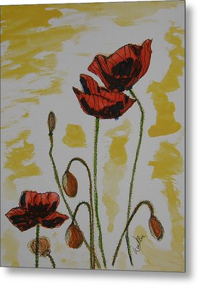 Budding Poppies Metal Print by Marcia Weller-Wenbert