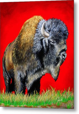 Buffalo Warrior Metal Print by Teshia Art