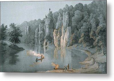 Bullard Rock On The New River Metal Print