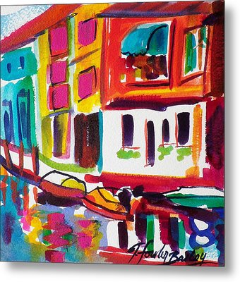 Burano Italy Side Street Sold Original Metal Print by Therese Fowler-Bailey