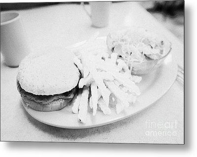 Burger Crinkle Cut Fries And Salad In A Cheap Diner In North America Metal Print by Joe Fox