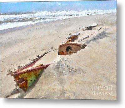 Buried Treasure - Shipwreck On The Outer Banks I Metal Print by Dan Carmichael