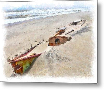 Buried Treasure - Shipwreck On The Outer Banks II Metal Print by Dan Carmichael