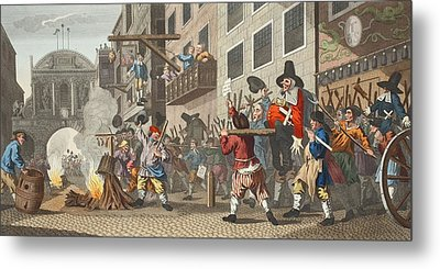 Burning Ye Rumps At Temple-barr Metal Print by William Hogarth