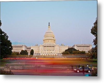 Bus Blur And U.s.capitol Building Metal Print by Richard Nowitz