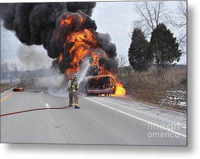 Bus Fire Metal Print by Steven Townsend