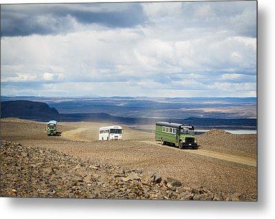 Metal Print featuring the photograph Buses Of Landmannalaugar by Peta Thames