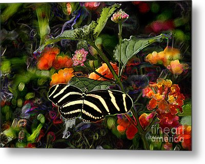 Metal Print featuring the digital art Butterfly Garden 14 - Zebra Heliconian by E B Schmidt