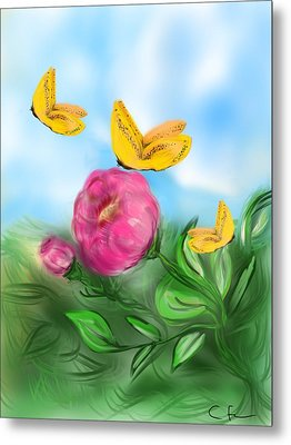 Metal Print featuring the digital art Butterfly Triplets by Christine Fournier