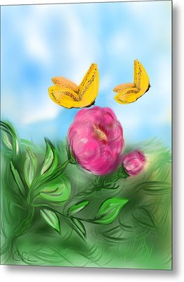 Metal Print featuring the digital art Butterfly Twins by Christine Fournier