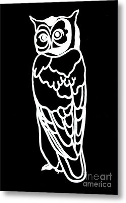 Bw Owl Metal Print by Amy Sorrell