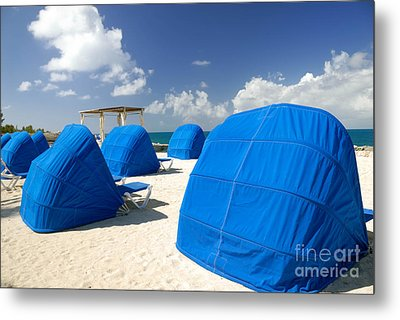 Cabanas On The Beach Metal Print by Amy Cicconi