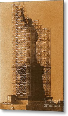 New York Lady Liberty Statue Of Liberty Caged Freedom Metal Print