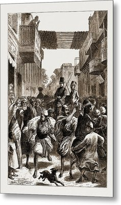Cairo, Egypt, 1876 Clearing The Way For Ladies Metal Print by Litz Collection