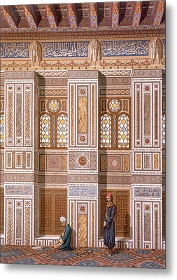Cairo Interior Of The Mosque Metal Print by Emile Prisse d'Avennes