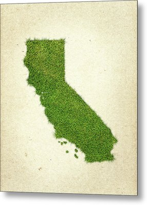 California Grass Map Metal Print by Aged Pixel