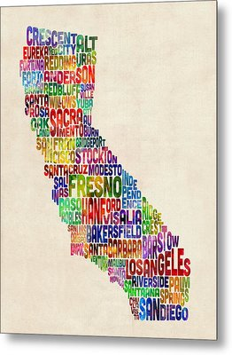 California Typography Text Map Metal Print by Michael Tompsett