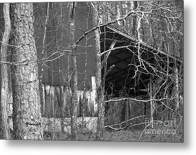 Camouflage Black And White Ver 1 Metal Print by Affini Woodley