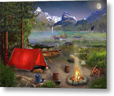 Metal Print featuring the drawing Canadian Wilderness Trip by David M ( Maclean )