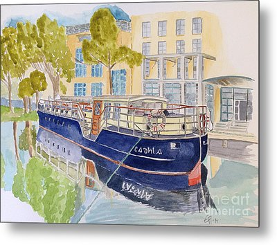 Metal Print featuring the painting Canal Boat by Eva Ason