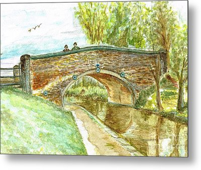 Metal Print featuring the painting Canal-bridal Path In Staffordshire  by Teresa White