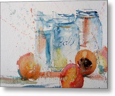 Canning Peaches Metal Print by Sandra Strohschein