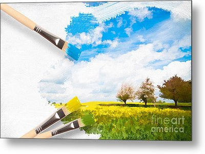 Canola Field In Summer Metal Print