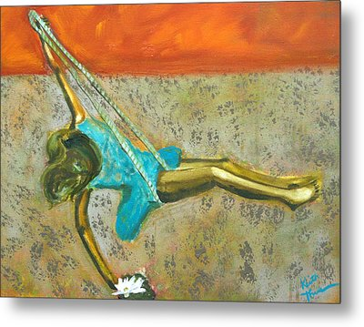 Metal Print featuring the painting Canyon Road Sculpture by Keith Thue
