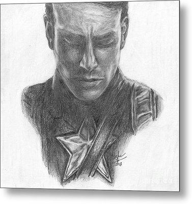 Captain America Metal Print by Christine Jepsen